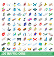 100 traffic icons set isometric 3d style vector image