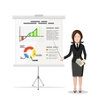 Business Woman pointing on the chart of finance vector image