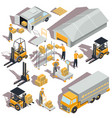 logistic and delivery isometric icons vector image vector image