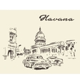 Havana old cars vintage drawn sketch vector image