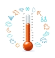 Weather concept red thermometr and icon set vector