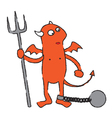 Chained devil cartoon vector image