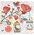 Elegant card with flowers bids and cages vector image