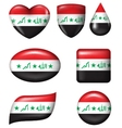 Iraq flag in various shape glossy button vector image