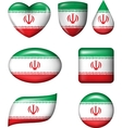 Iran flag in various shape glossy button vector image