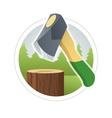 Ax chop wooden log vector image