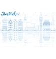 Outline Stockholm Skyline with Blue Buildings vector image