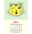 Calendar 2017 with cats March In cartoon 80s-90s vector image
