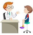 Doctor examining little boy vector image