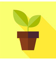 Flat Biology Nature Pot with Plant with long vector image