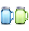 Blue and green jars with aluminum lids vector image