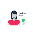 Womans health healthy diet young girl holding an vector image