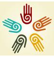 Hand with spiral symbol in a circle vector image