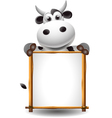 funny cartoon cow with board vector image vector image
