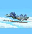 cartoon fighter fires a rocket vector image