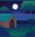 cartoon night landscape with starry sky full moon vector image