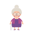 Old Lady In Purple Dress with Walking Stick vector image