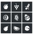 Set of Fruits Icons Apple Grape Banana vector image