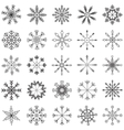 Snowflake set black and white vector image