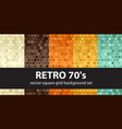 square pattern set retro 70s seamless glowing vector image