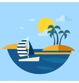 Summer Seascape with Sailboat vector image