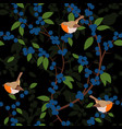 seamless pattern of blackthorn berries and robin vector image