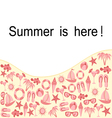 Summer text frame with object set vector image vector image