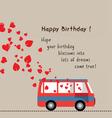 Happy birthday love bus with heart vector image