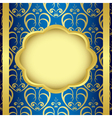 frame with blue background and golden center vector image