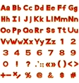 Set of red letters and numbers buttons vector image