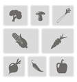 set of monochrome icons with vegetables vector image