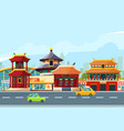 Chinese urban landscape with traditional buildings vector image