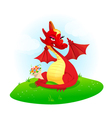 red dragon with flowers vector image