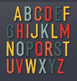colorful shadowed retro font multi colored vector image