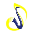 Blue saxophone playing jazz or classical music vector image vector image