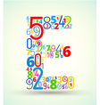 Letter E colored font from numbers vector image