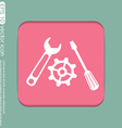 screwdriver cogwheel and wrench icon setting and vector image