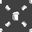 glass of beer icon sign Seamless pattern on a gray vector image