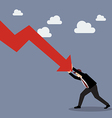 Businessman pushing hard against falling graph vector image vector image