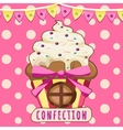 Cake-house on a pink background vector image