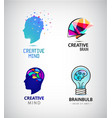 set of creative mind brainstorm brain vector image