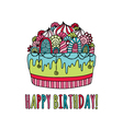 Birthday Cake Hand Drawn Doodle Bright vector image