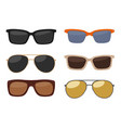 types of sunglasses color flat vector image