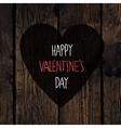valentines heart with greetings on wooden texture vector image vector image