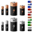 set of battery on the white background for design vector image vector image