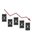Oil Prices Down Black Barrels and Graph Drop vector image vector image