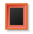 Red wooden frame with gold patterns vector image