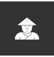 contour icon cute Japanese three-cornered hat vector image