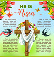 easter cross with flower and bird poster template vector image