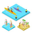 isometric outdoor activity kayaking surfing vector image